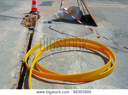 fiber optic cables buried in a micro trench