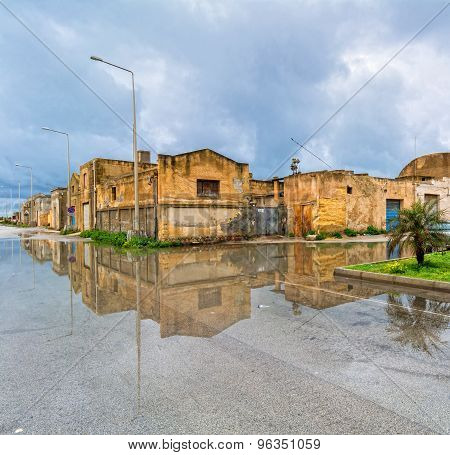 Street View With Reflection In Marsala, Italy