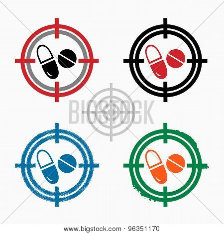 Pill Icon On Target Icons Background