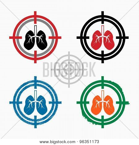 Lung Icon On Target Icons Background