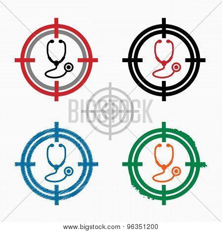 Stethoscope  Icon On Target Icons Background