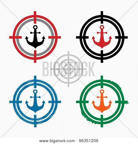 Anchor Icon On Target Icons Background