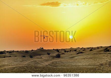 Sunset In The Dunes Of Arabian Desert