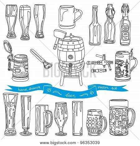 Vector collection of beer glasses and bottles icons.