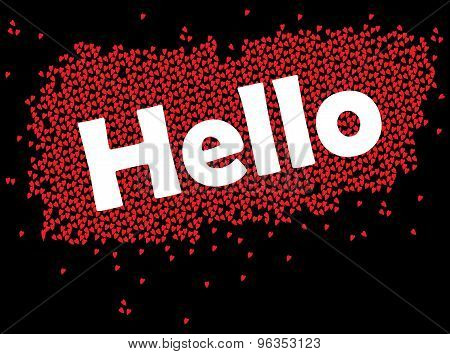 Hello the text with love texture on background