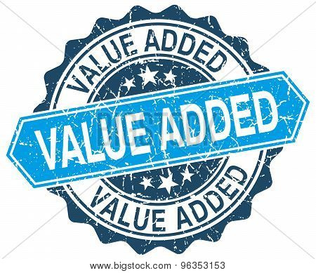 Value Added Blue Round Grunge Stamp On White