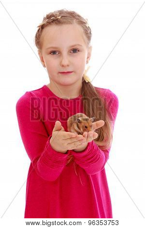 Sweet girl with a hamster