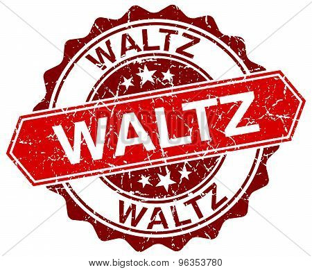 Waltz Red Round Grunge Stamp On White