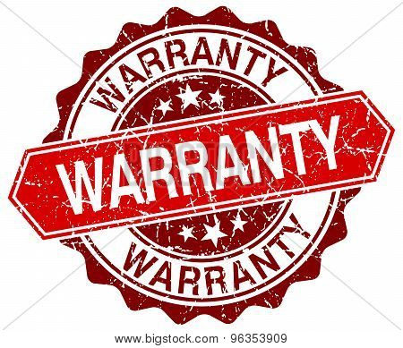 Warranty Red Round Grunge Stamp On White