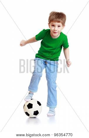 Boy a soccer ball