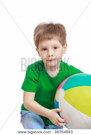 The boy with the ball in his hands