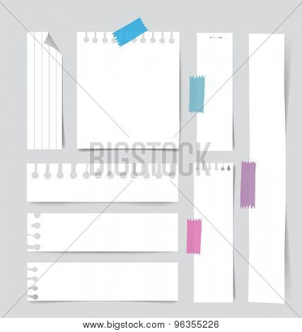 Collection of various white note papers, ready for your message. Vector illustration