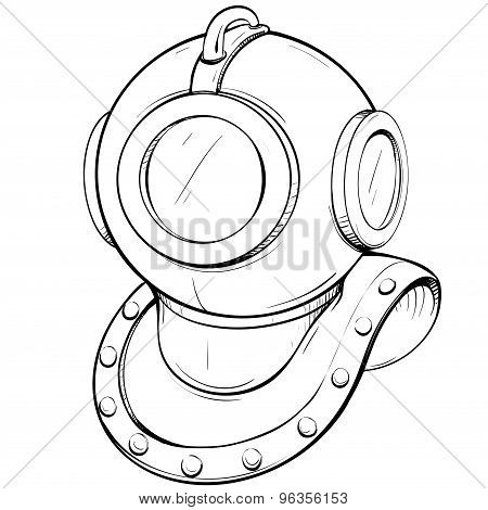 Vector Illustration Retro Diving Helmet Made In Thumbnail Style