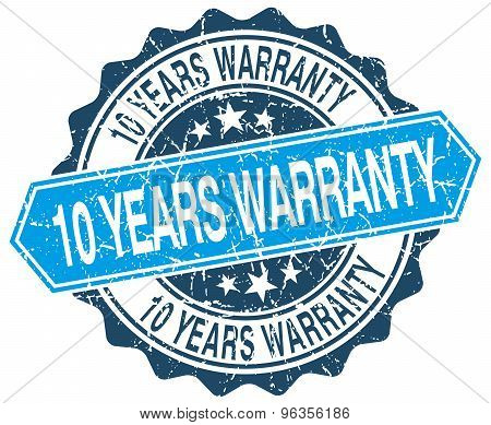 10 Years Warranty Blue Round Grunge Stamp On White