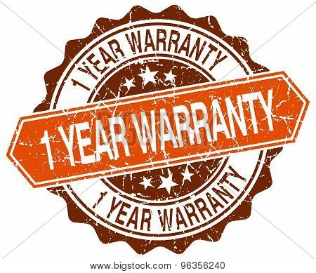 1 Year Warranty Orange Round Grunge Stamp On White