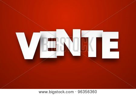 White vente sign over red background. Vector sale illustration.