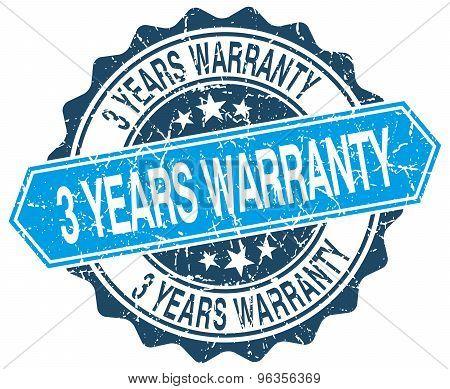 3 Years Warranty Blue Round Grunge Stamp On White