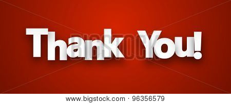 White thank you sign over red background. Vector illustration.