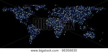 World map composed of blue dots. Vector illustration.