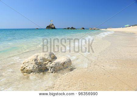 Megali Petra Beach, Lefkada Island, Levkas, Lefkas, Ionian sea, Greece.