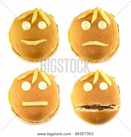 Set Of Smileys And Fast Food Fries