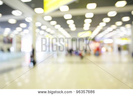 Spacious hall of airport out of focus - defocused blured background