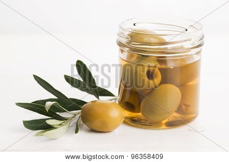 Pickled Olives And Olive Tree Branch