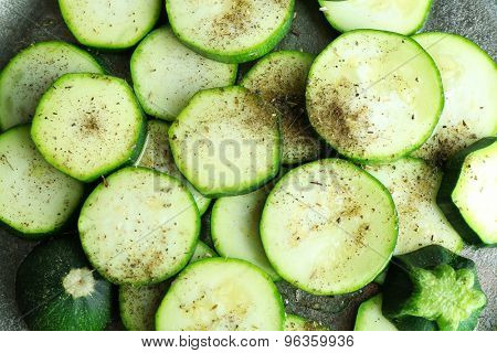 Sliced zucchini, closeup