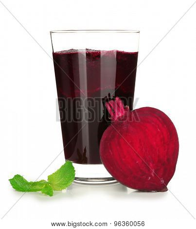 Glass of beet juice isolated on white
