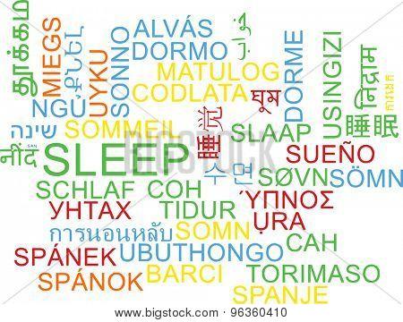 Background concept wordcloud multilanguage international many language illustration of sleep