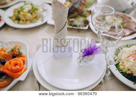 wedding reception decor food
