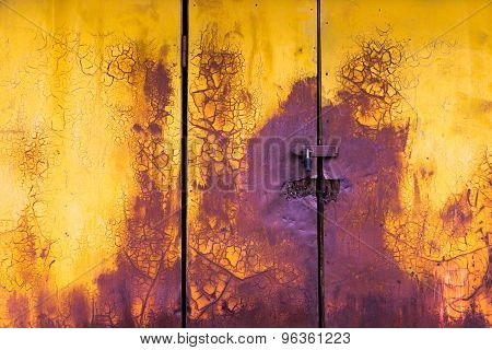 Old Paint Horizontal Door Background Yellow And Purple