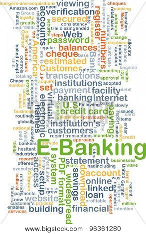 Background concept wordcloud illustration of e-banking