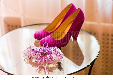 garter and wedding shoes