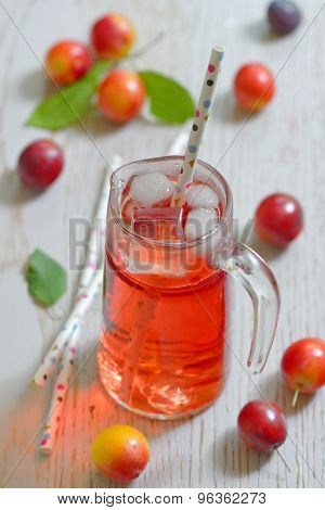 Plum Compote In Glass Jar