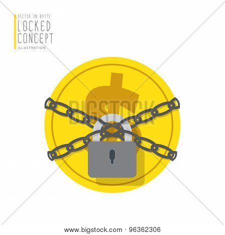 Coin Money Are Bound With Chains And Locked With A Padlock Flat Vector.