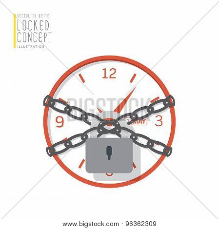 Clock Are Bound With Chains And Locked With A Padlock Flat Vector.