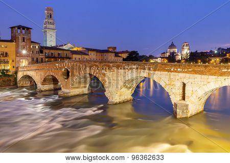 Verona. Bridge St. Peter On The Sunset.