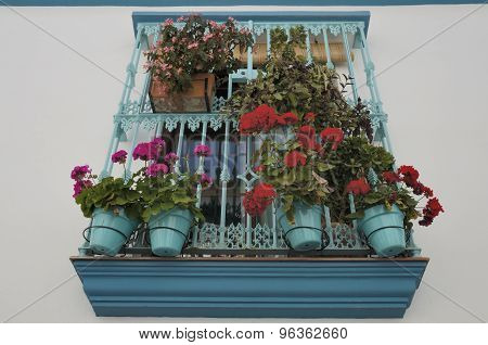Window With Turqoise Grille Adorned With  Flowers