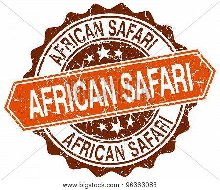 African Safari Orange Round Grunge Stamp On White