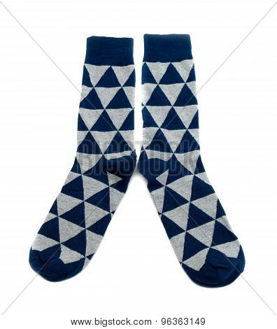 Pair Of Socks In A Diamond Pattern