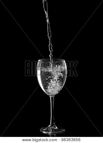 Sparkling Water Filled In A Wine Glass