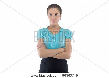 Photo of serious woman in blue blouse