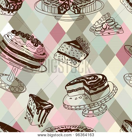 Vector seamless patten with party pastry and sweets.