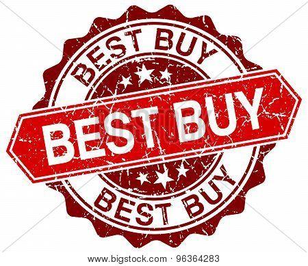 Best Buy Red Round Grunge Stamp On White