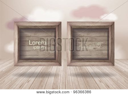 Empty wooden box  on  background with clouds.  wooden texture