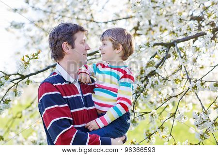 Young Father And Little Kid Boy In Blooming Garden