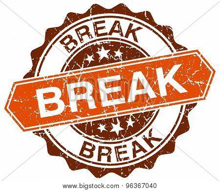 Break Orange Round Grunge Stamp On White