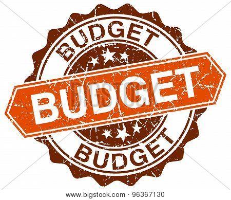 Budget Orange Round Grunge Stamp On White