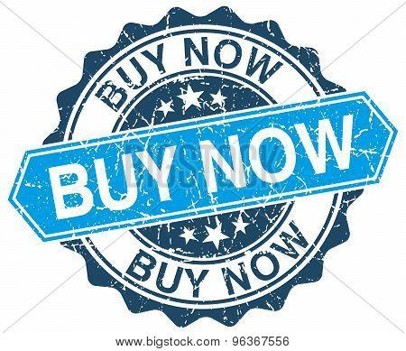 Buy Now Blue Round Grunge Stamp On White